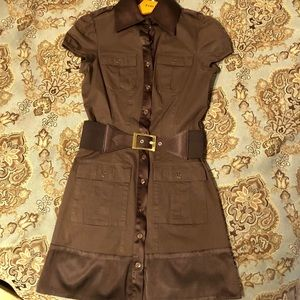 Brown sporty Bebe button up belted dress XS